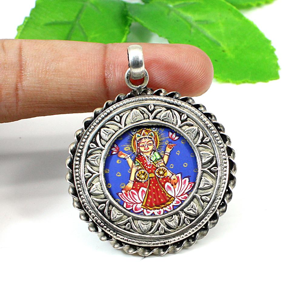 Solid Silver Hindu Goddess Dhana Lakshmi Mata Hand Painted Pendant