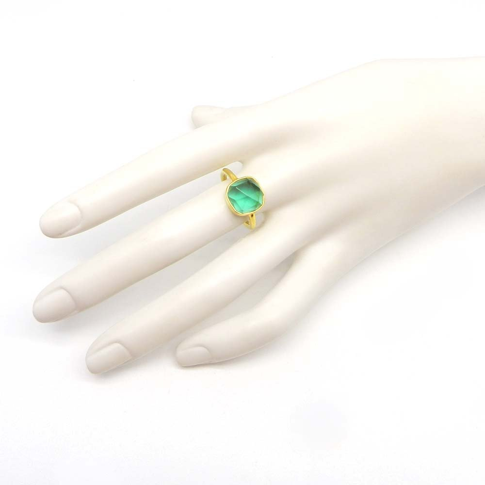 Stackable Gold Plated Ring Apatite Hydro Gemstone Ring Solid 925 Sterling Silver Ring Gypsy Handmade Ring Gift For Her