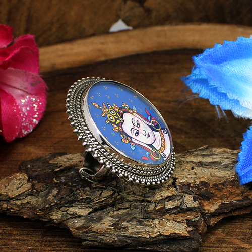 Statement Designer Lord Buddha Hand Painting Ring 925 Sterling Silver Ring Miniature Rings Unisex Circular Adjustable Rings