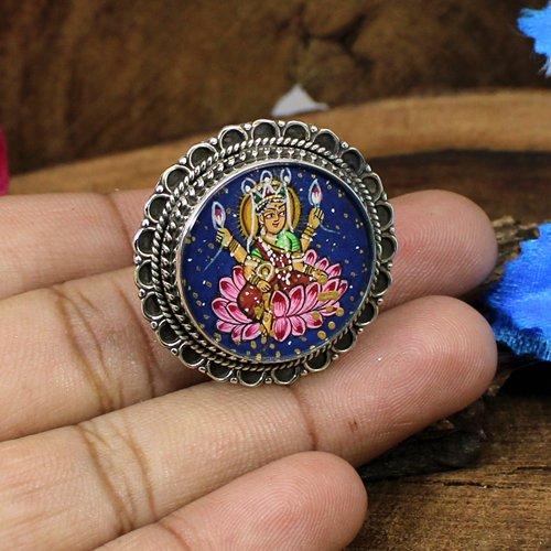 Statement Designer Ring Solid 925 Sterling Silver Ring Goddess Laxmi Painting Ring Handmade Adjustable Ring Spiritual Ring Circular Oxidized Ring