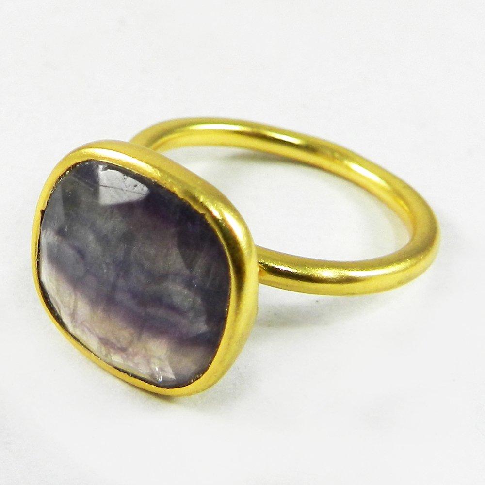 Stelina Fluorite Gold Plated Bezel Set Ring