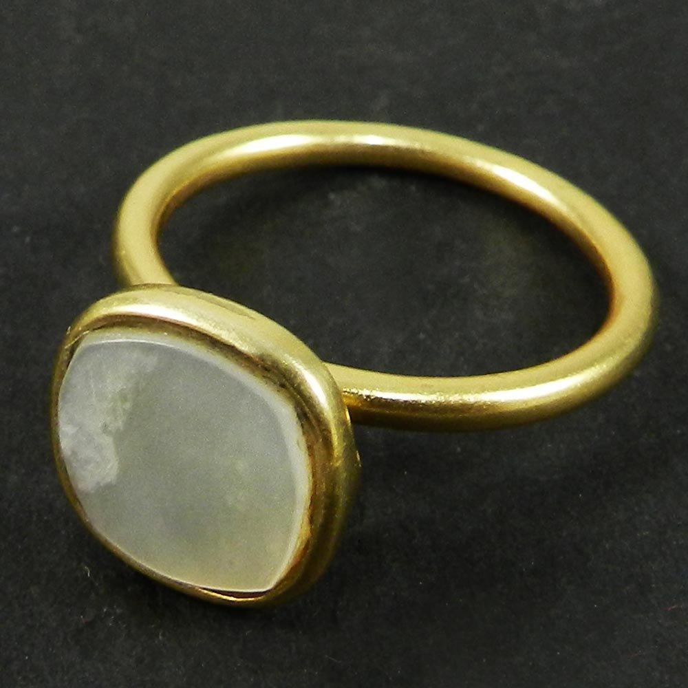 Stelina White Pearl Gold Plated Bezel Set Ring