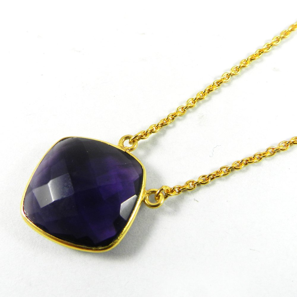 Steling Amethyst 925 Sterling Silver 18 inch Long Chain Designer Necklace
