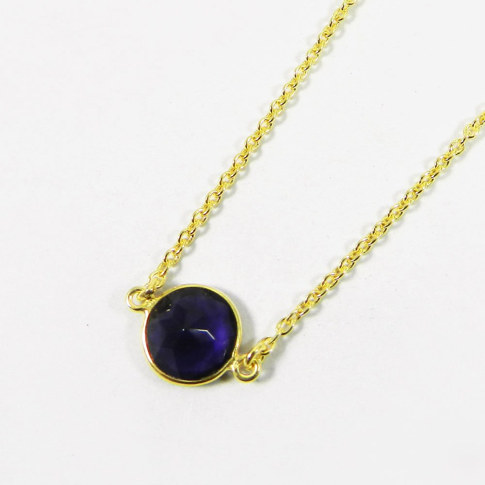 Steling Purple Amethyst 925 Sterling Silver 19 inch Long Chain Necklace