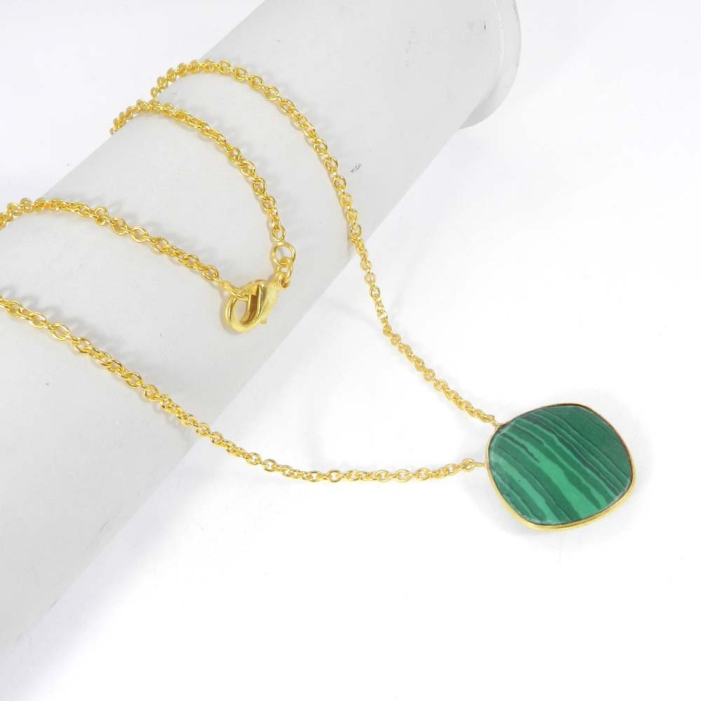 Steling Synthetic Malachite Gold Plated 20 inch Long Chain Necklace