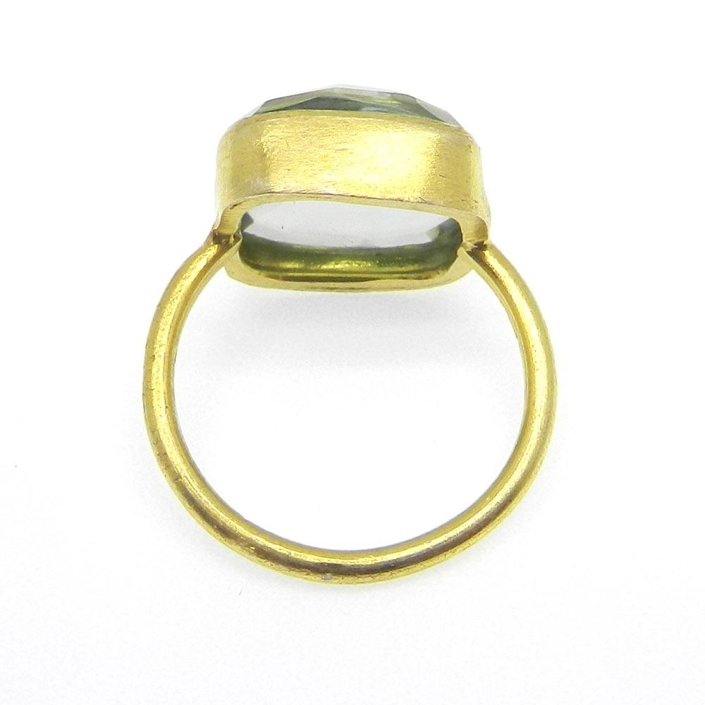 Sterling Silver Cushion Green Amethyst Ring Gemstone Ring Gold Plated Statement Ring Bohemian Handmade Women Ring