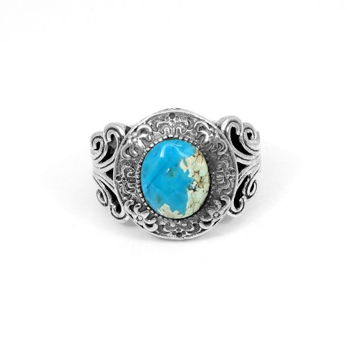 Stylish Vintage Carving Turquoise Gemstone Ring Solid 925 Sterling Silver Rings Mens Engagement Rings Handmade Gypsy Rings