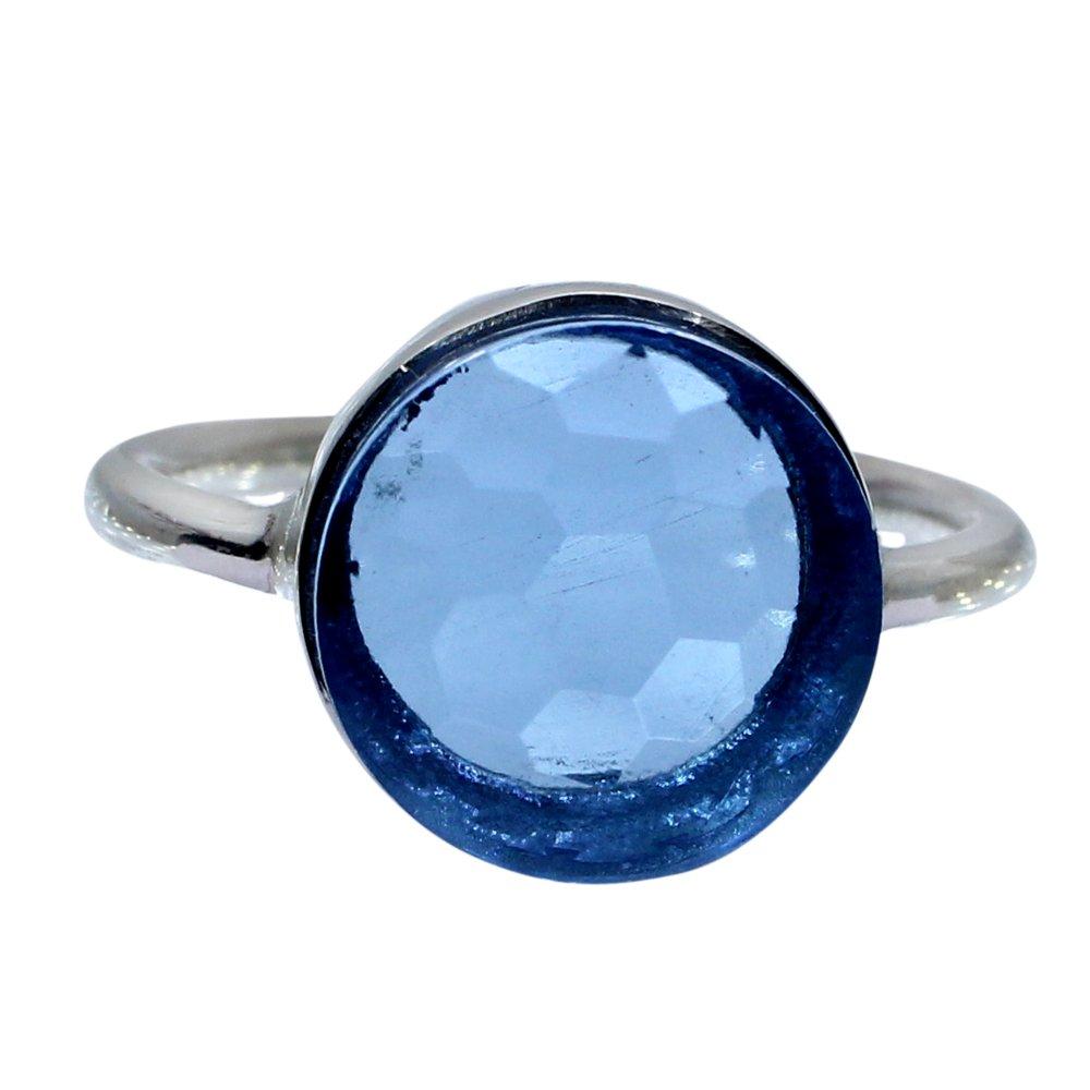 Swiss Blue Topaz Hydro 925 Sterling Silver Handmade Bezel Set Simple Ring