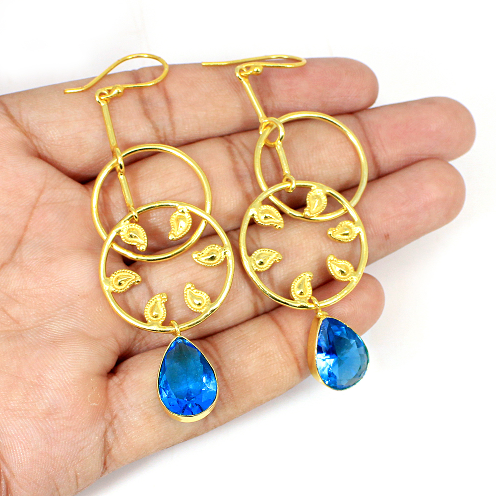 Swiss Blue Topaz Hydro Gemstone Brass Vermeil  Designer Earring