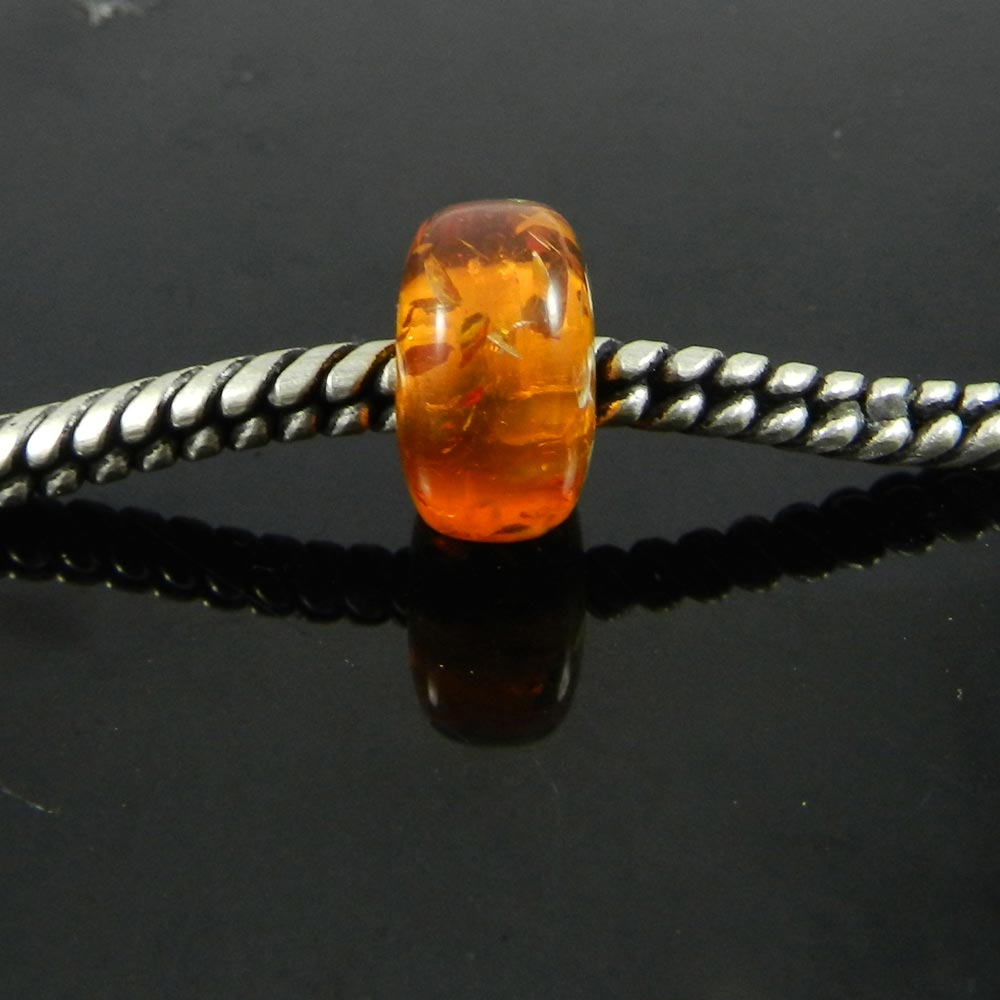 Syn. Amber Roundel Smooth Big Hole Beads For Jewelry Making