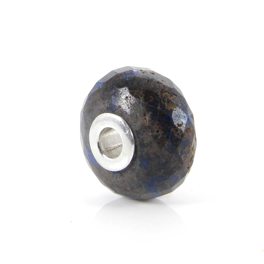 Syn. Blue Mojave Turquoise big hole gemstone silver core beads for Jewelry