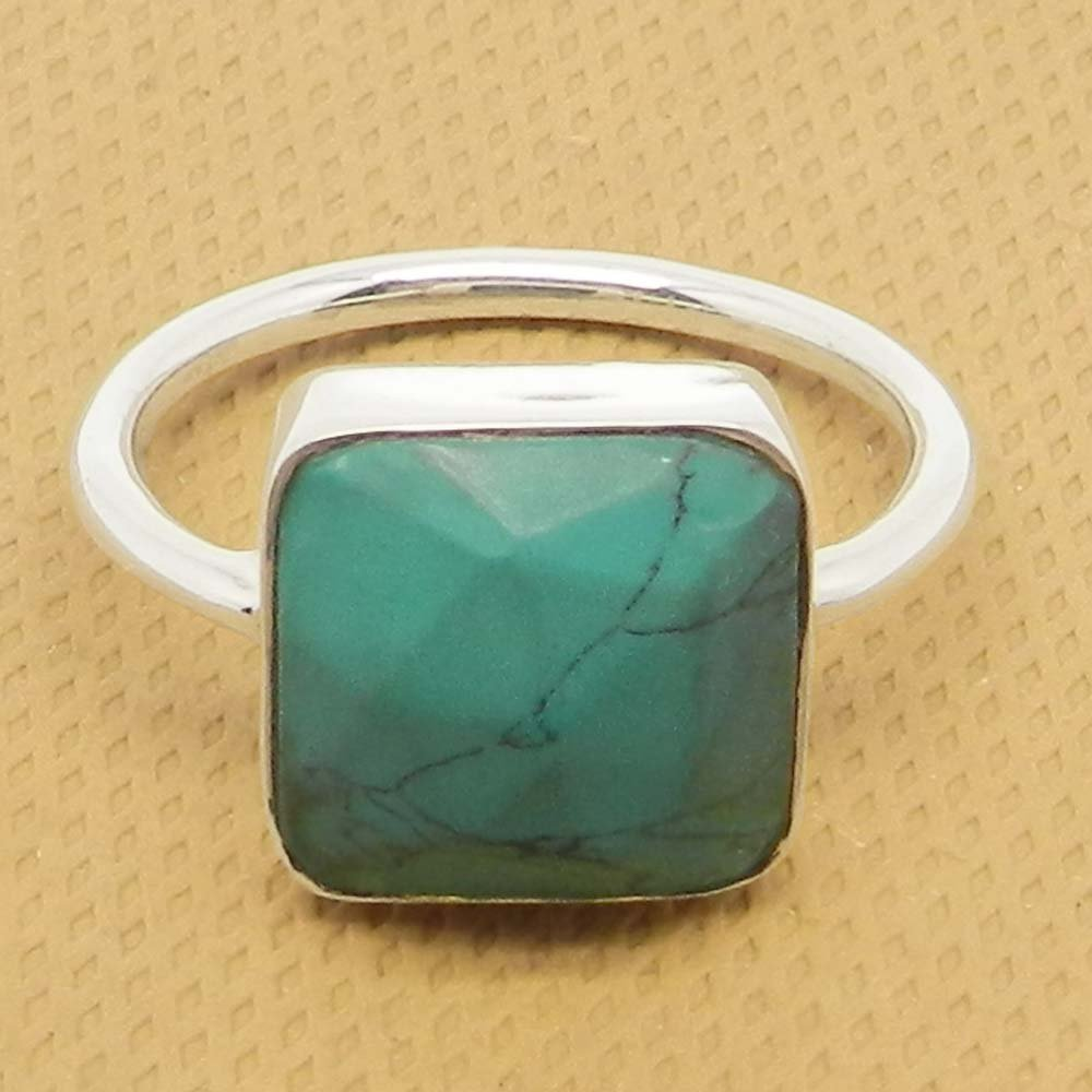 Syn. Blue Turquoise 925 Sterling Silver Bezel Set Ring