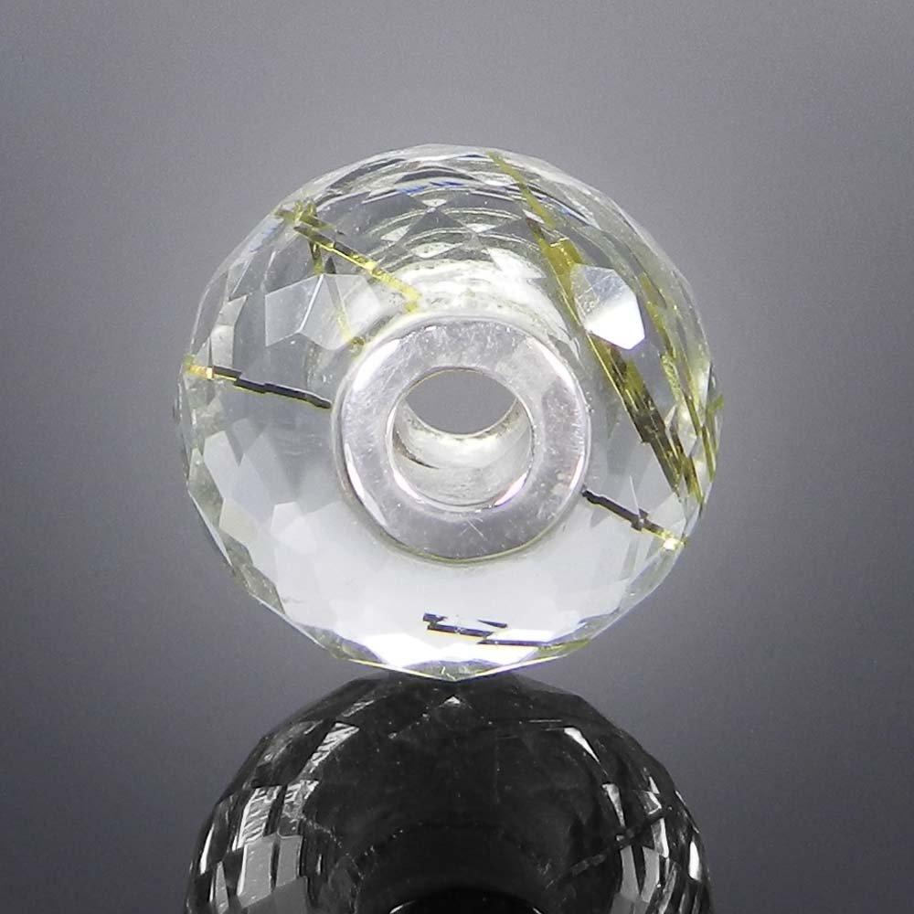 Syn. Golden Rutile big hole gemstone silver core beads for bracelet making