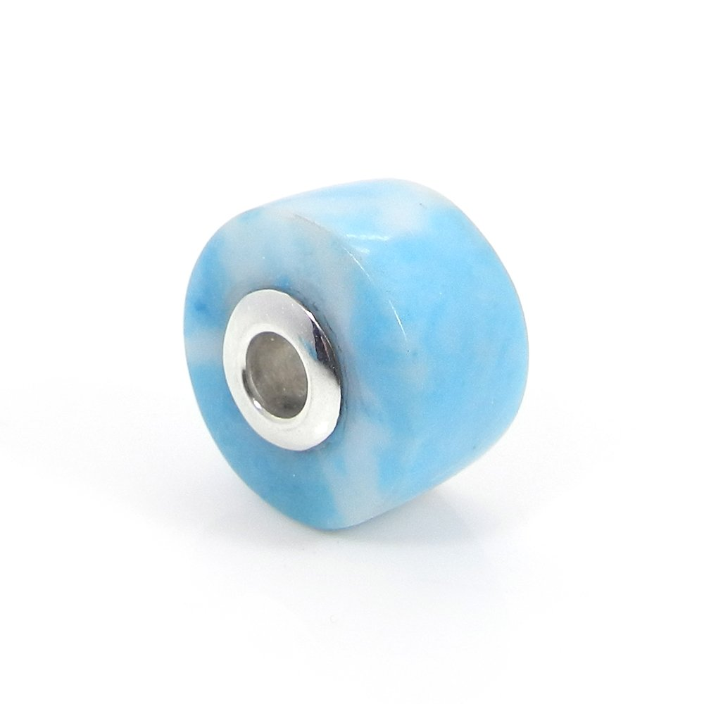 Syn. Larimar Smooth Flat Big Hole Silver Core Beads For Jewelry Making
