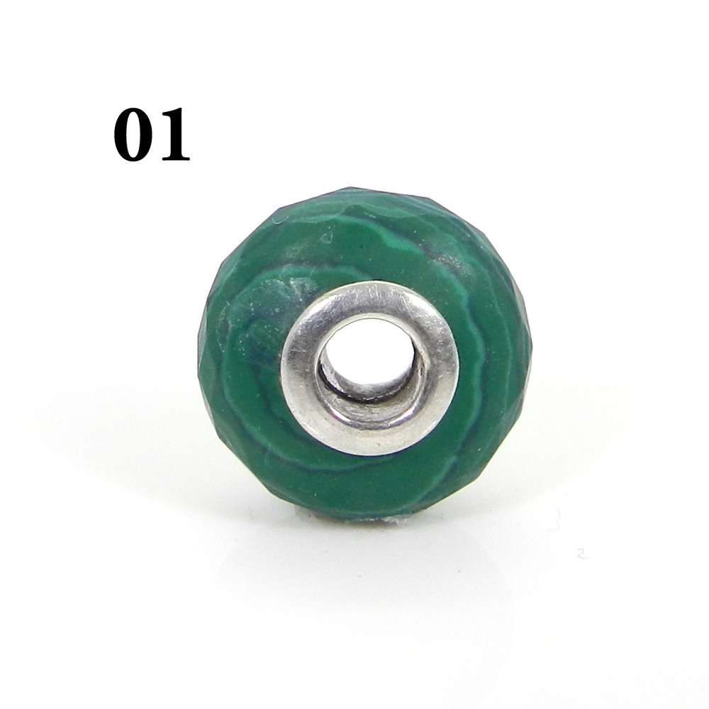 Syn. Malachite Roundel Facet Big Hole Silver Core Beads For Necklace Making