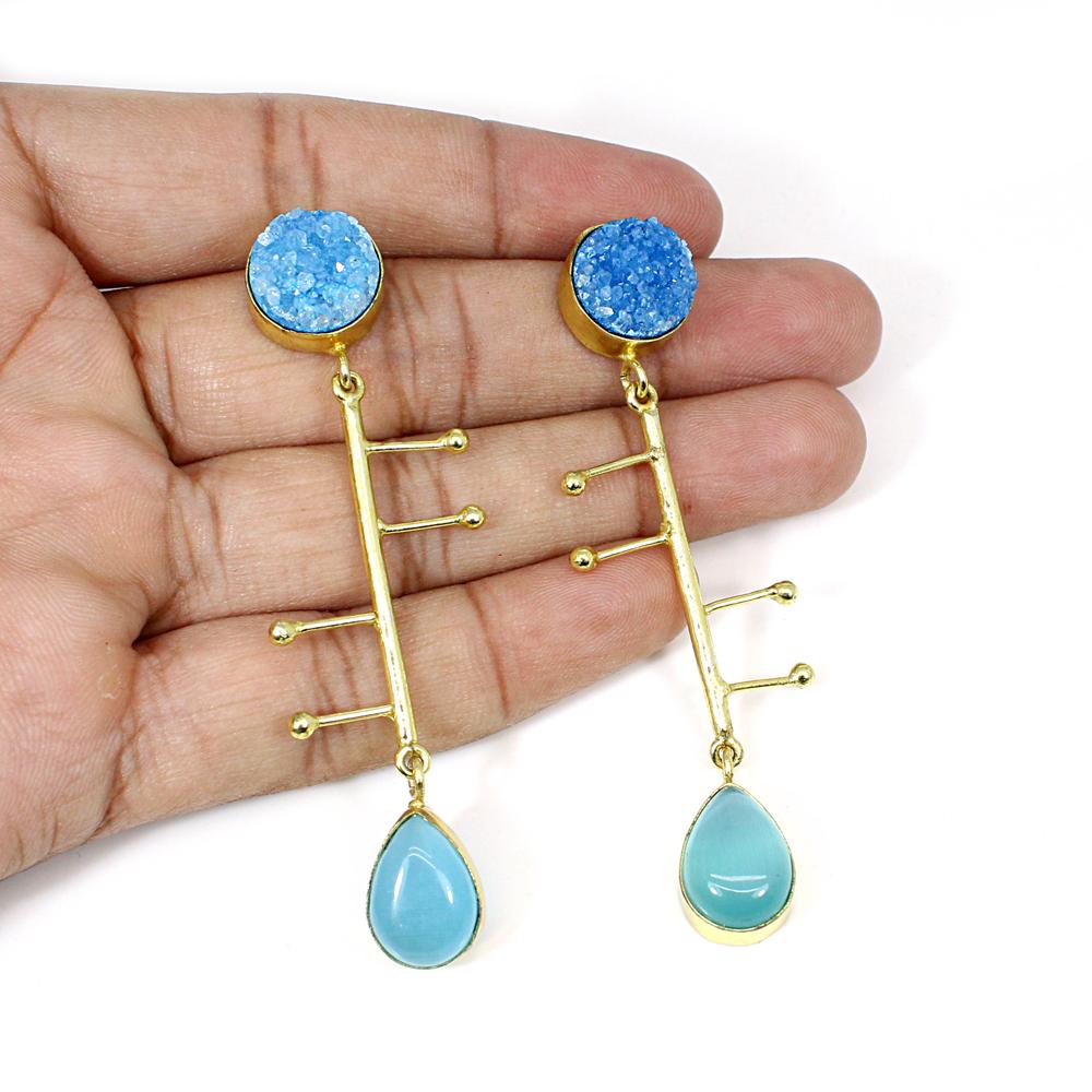 Synthetic Blue Cat's Eye & Blue Druzy Gemstone Brass Vermeil  Designer Earring