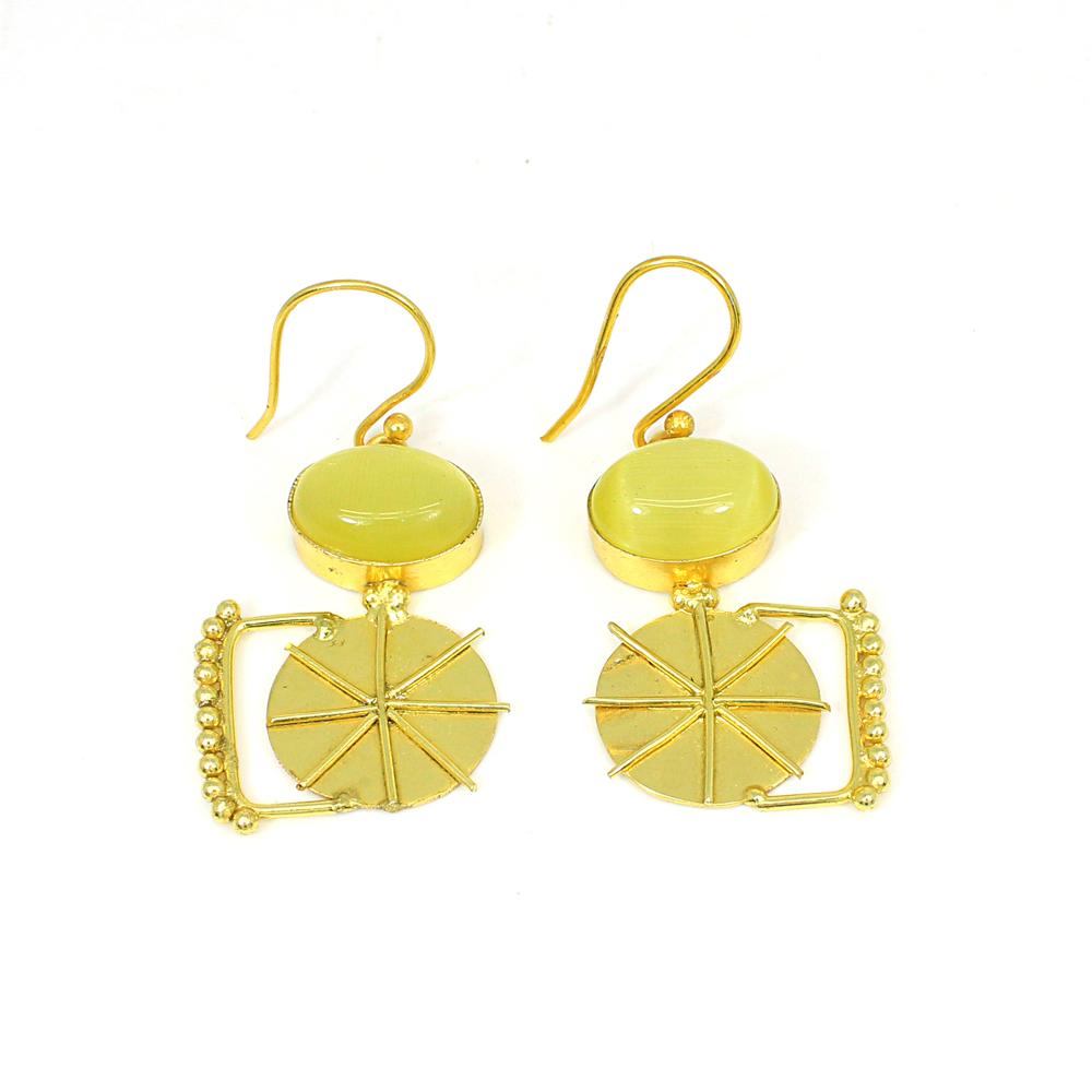 Synthetic Cat's Eye  Gemstone Brass Vermeil  Designer Earring