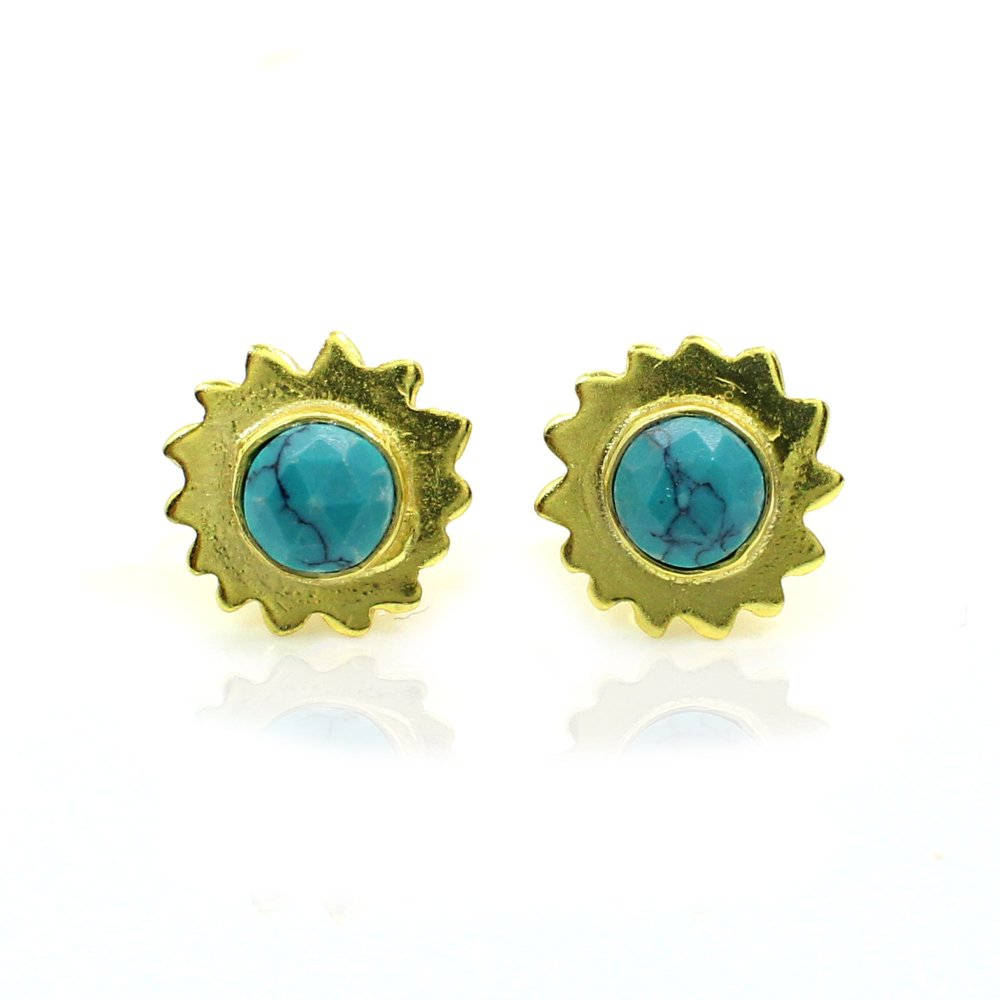 Synthetic Green Turquoise Sterling Silver Gold Plated Stud Earrings