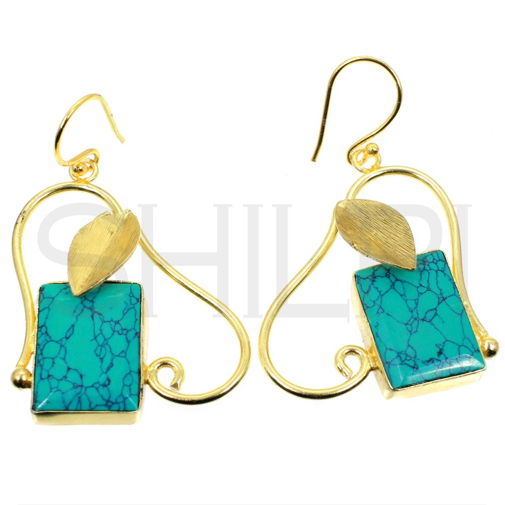 Synthetic Green Turquoise With Leaf Designer Gold Plated Dangle Earrings