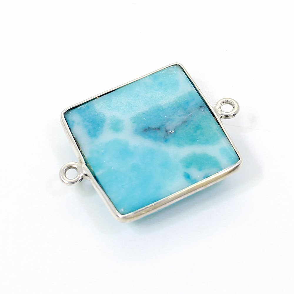 Synthetic Larimar 20x20mm 925 Sterling Silver Double Loop Connector