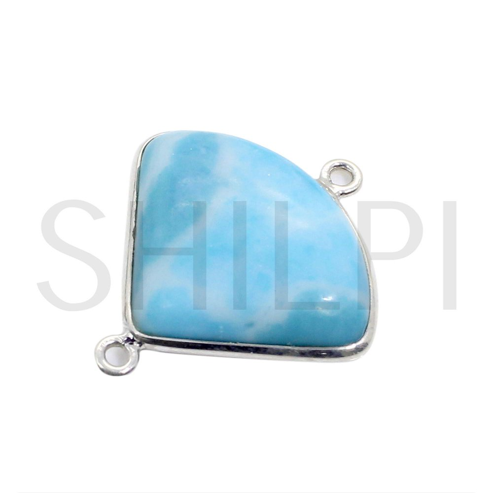 Synthetic Larimar 925 Sterling Silver Double Loop Connector
