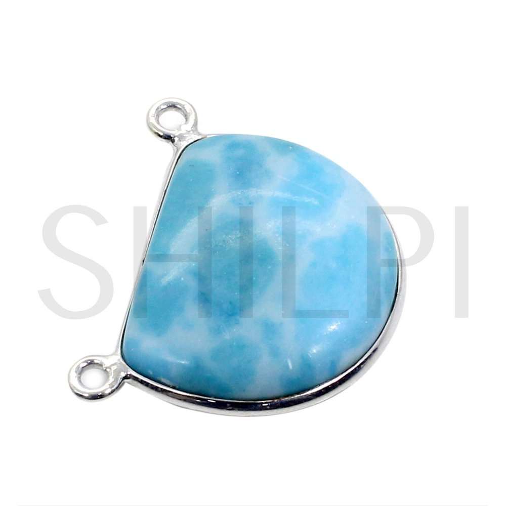 Synthetic Larimar 925 Sterling Silver Handmade Double Loop Connector