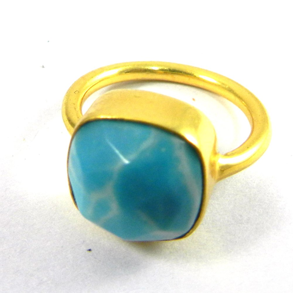 Synthetic Larimar gold plated bezel ring