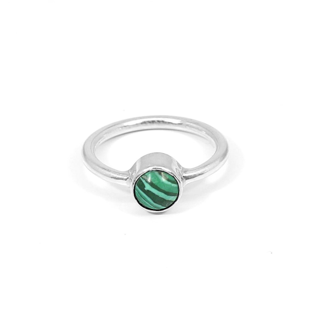 Synthetic Malachite Gemstone Ring Solid 925 Sterling Silver Ring Handmade Tiny Ring Minimalist Dainty Ring Unisex Gift Ring