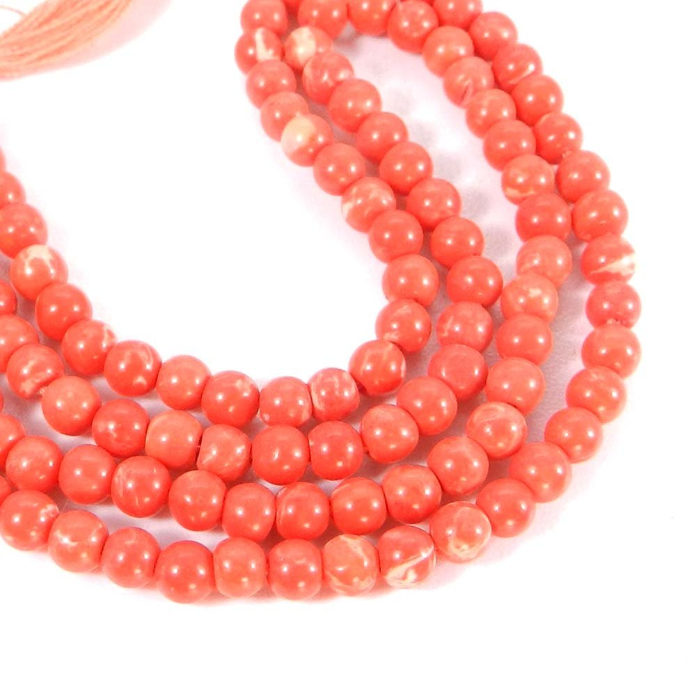 Synthetic Pink Coral 3mm Round Smooth Gemstone Strand Beads