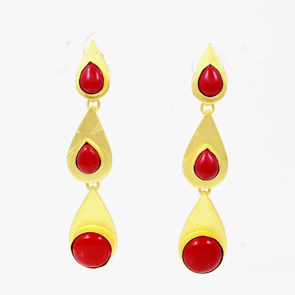 Synthetic Red Coral Gold Plated Stud Earrings