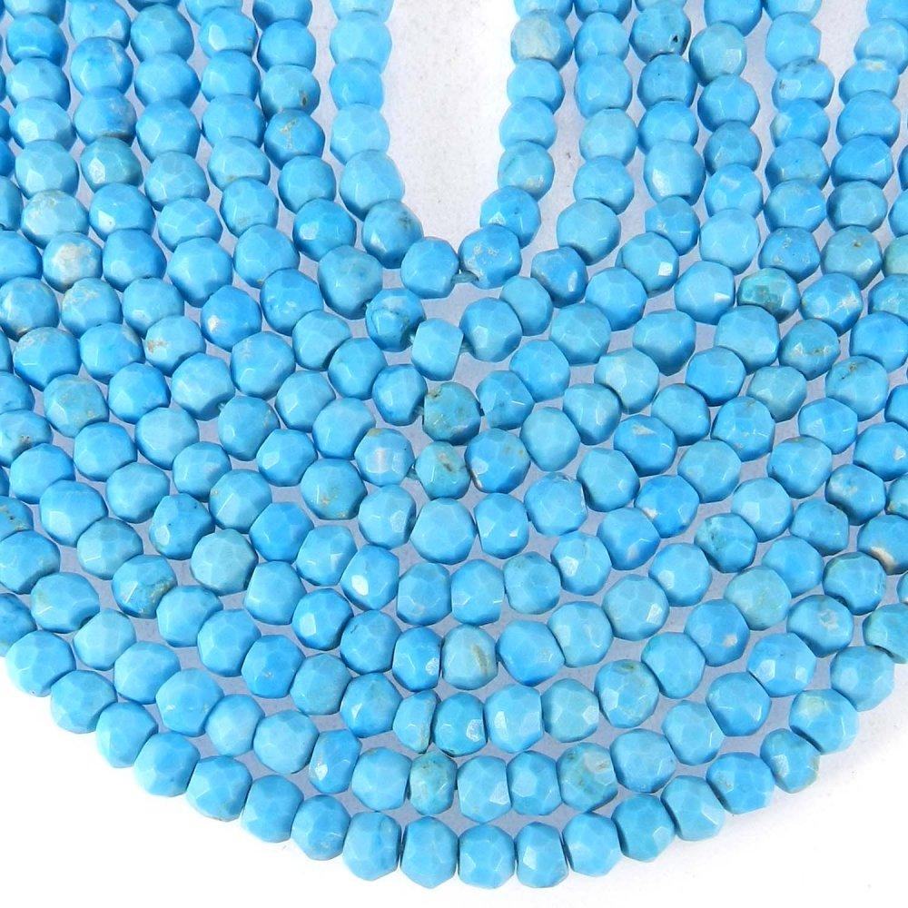 Synthetic Turquoise 3mm Roundel Facet Gemstone Strand Beads