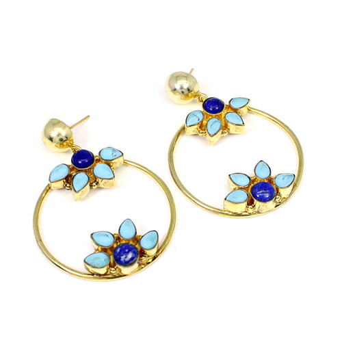 Synthetic Turquoise & Natural Lapis Lazuli Gemstone Brass Gold Plated Earring