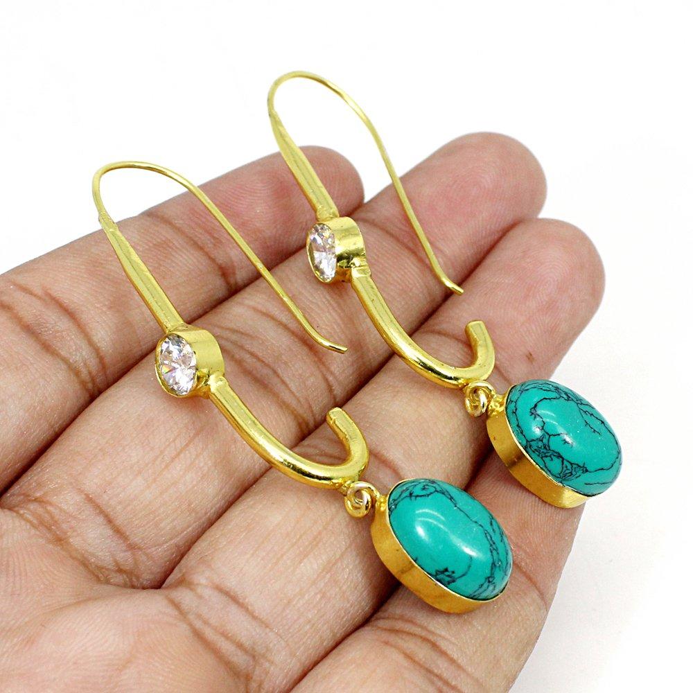 Synthetic Turquoise & White Zircon Gemstone Brass Vermeil Designer Earring