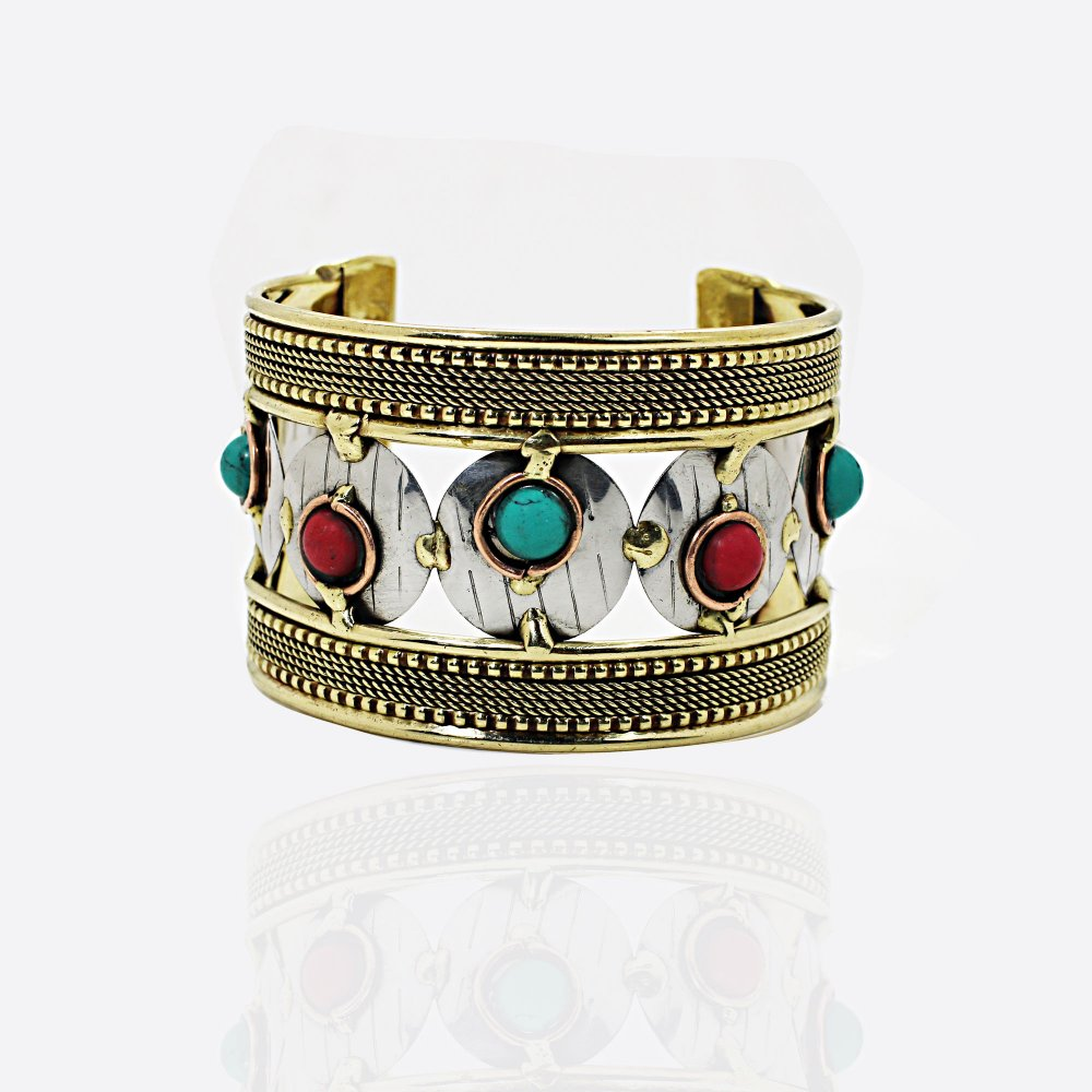 Synthetic Turquoise and Coral Beaded Edge Cuff Bracelet