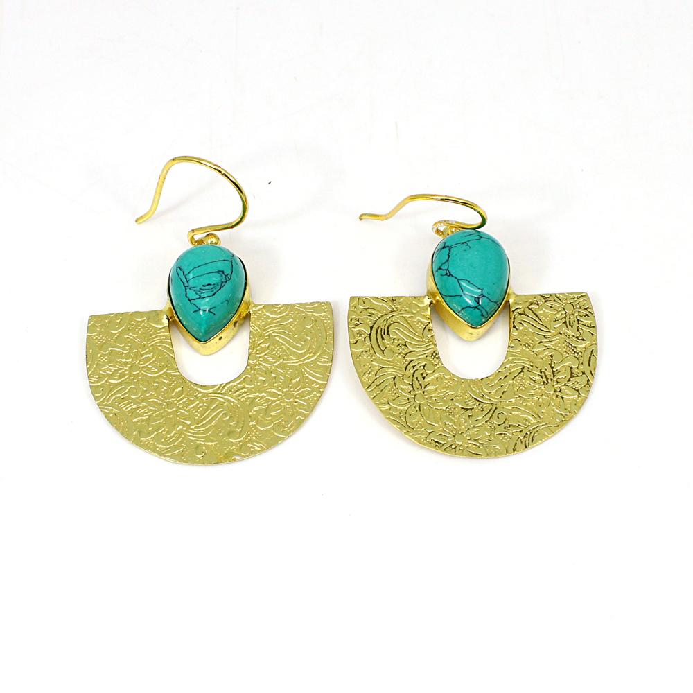 Synthetic Turquoise Gemstone Brass Vermeil Designer Earring
