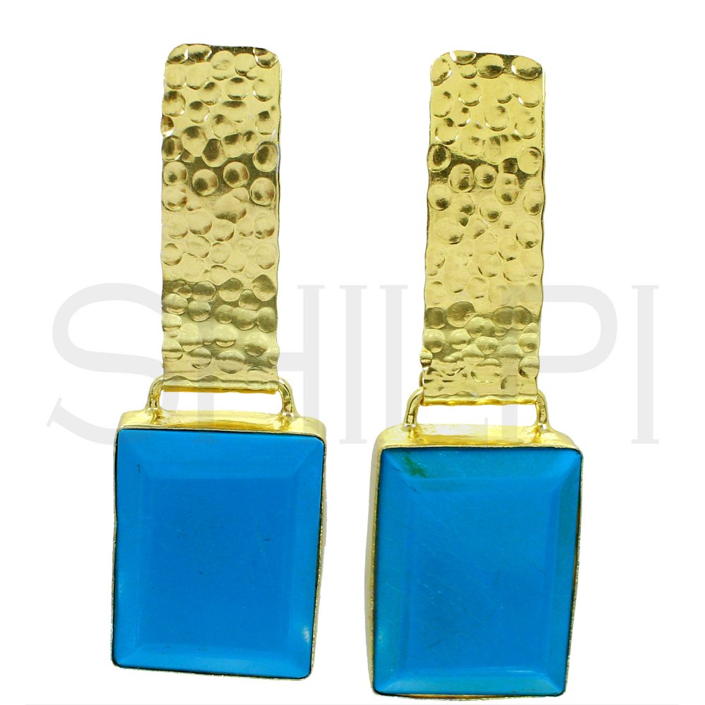Synthetic Turquoise Gold Plated Handmade Earrings