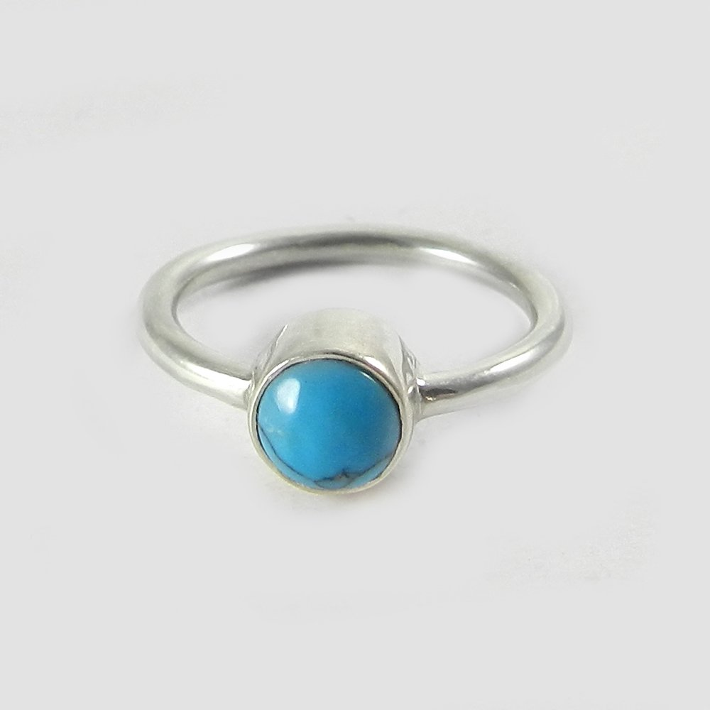 Synthetic Turquoise silver bezel ring