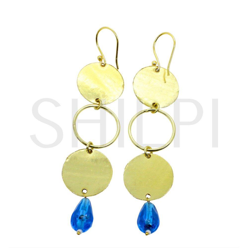 Tanzanite Hydro Gold Plated Designer Coin Dangle Earrings