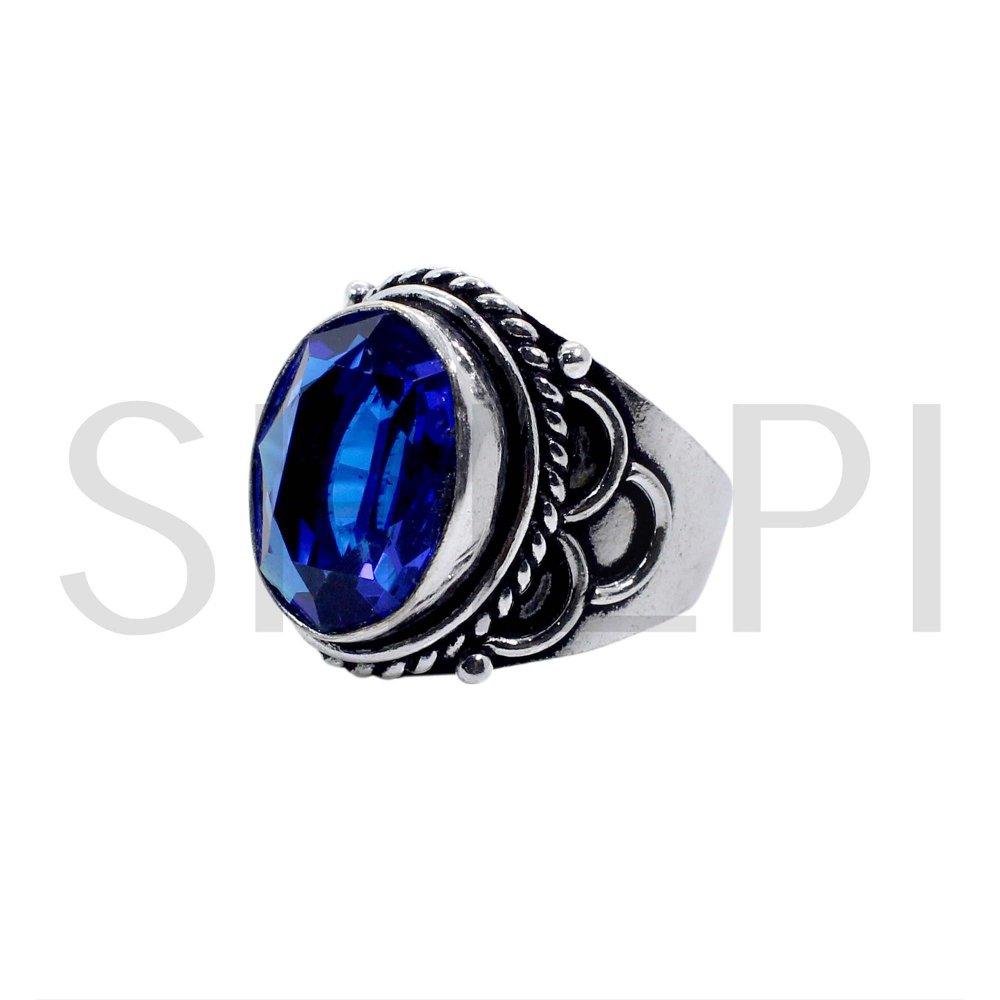 Tanzanite Hydro Oxidized 925 Sterling Silver Designer Ring