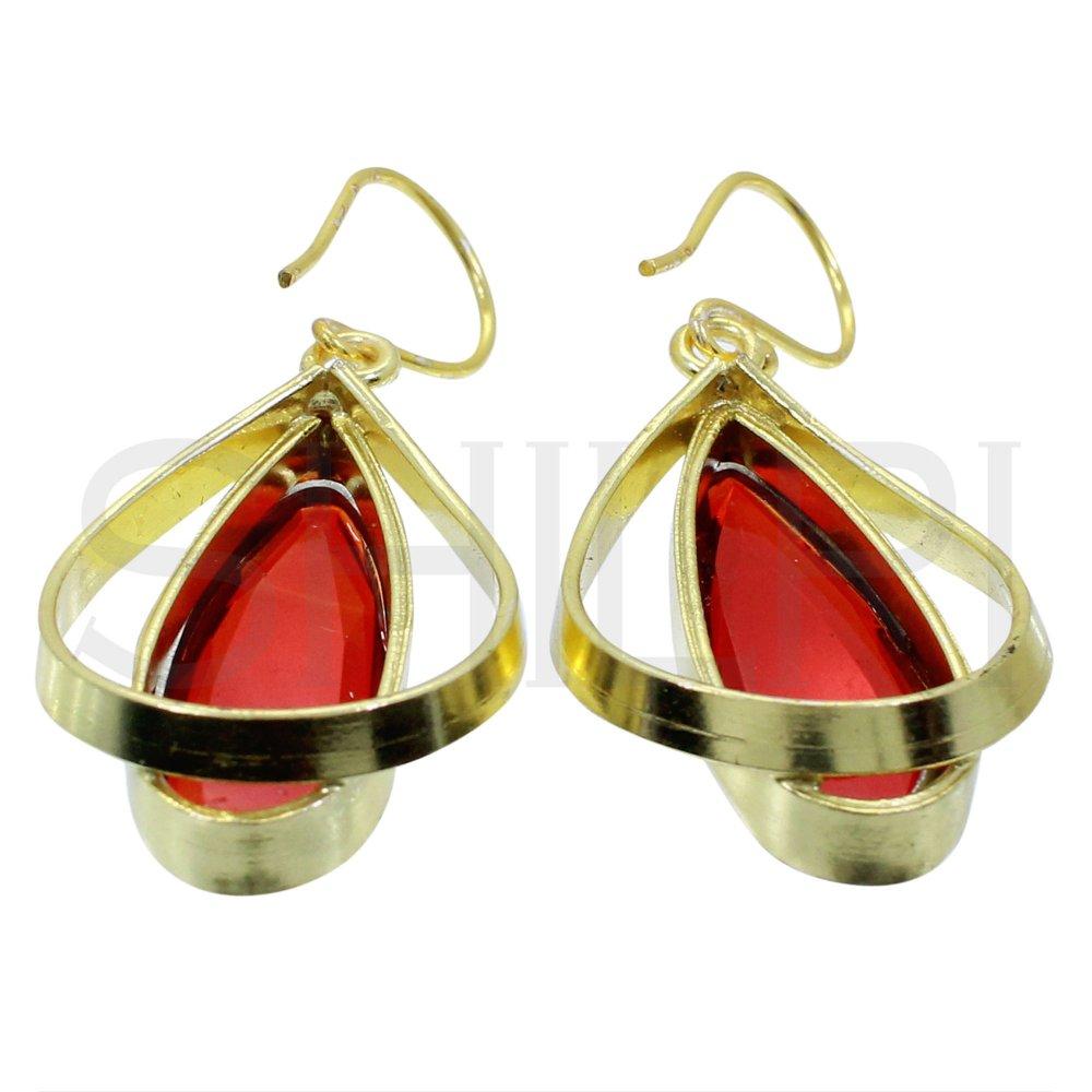 Teardrop Garnet Hydro Gold Plated Designer Handmade Dangle Earrings