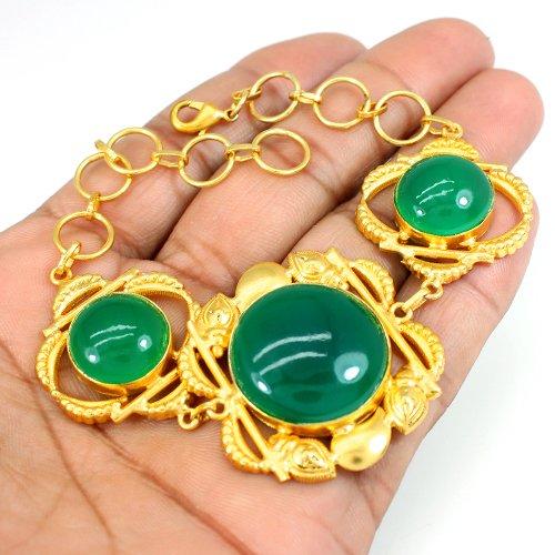Thanks Giving Gift Bracelet Green Onyx Bracelet Gold Plated Designer Bracelet