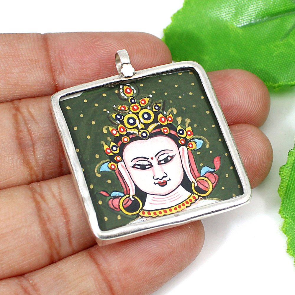 Tibetan Thangka Namgyalma Buddhist Art Silver Hand Painted Pendant
