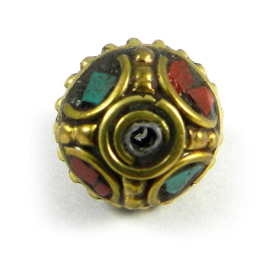Tibetan Turquoise & Red Coral Inlay Designer German Silver Metal Beads