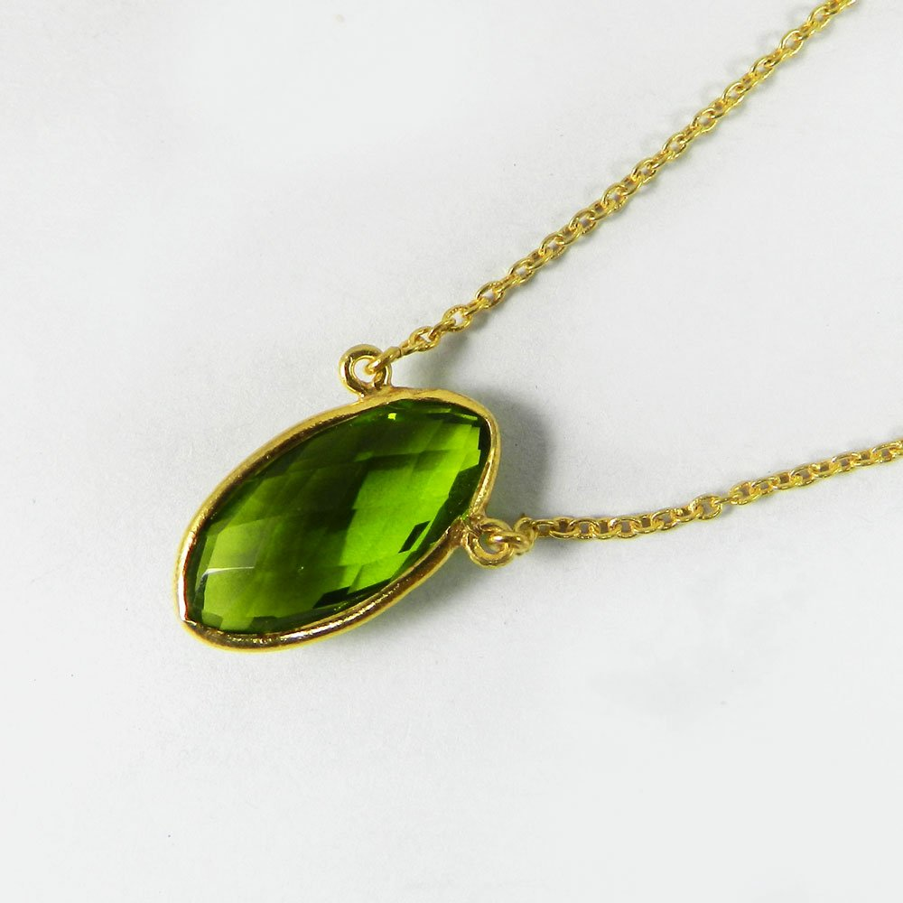 Tiene Peridot 18x9mm Silver Gold Plated 18.5 inch Long Chain Necklace