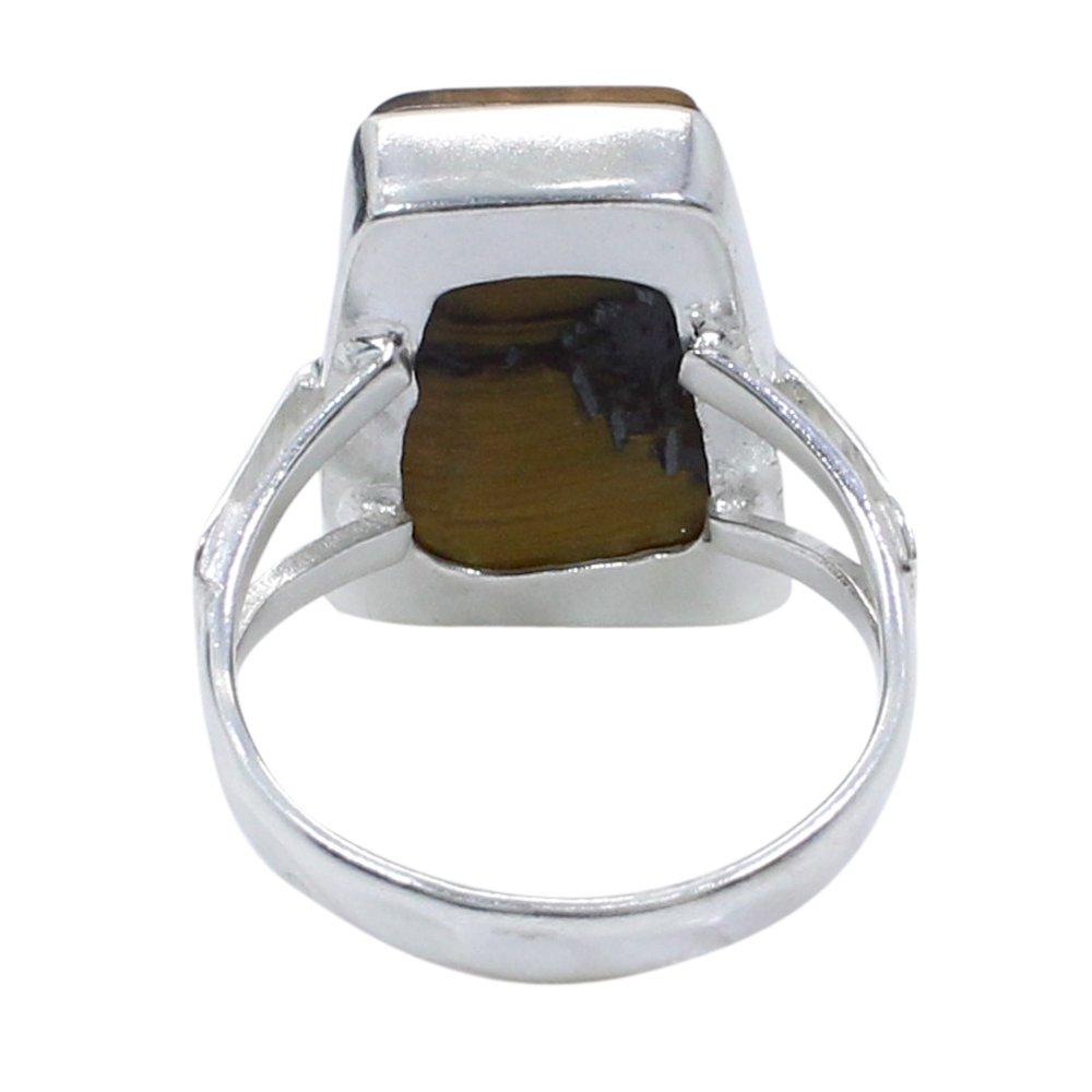 Tiger Eye Silver Plated Bezel Set Designer Ring