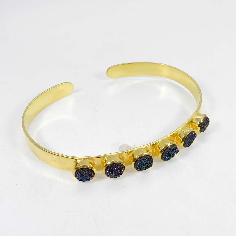Titanium Druzy 925 Sterling Silver Gold Plated Adjustable Cuff Bracelet