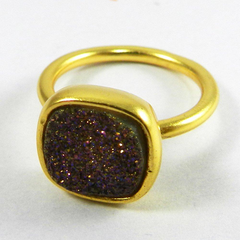 Titanium Druzy gold plated bezel ring