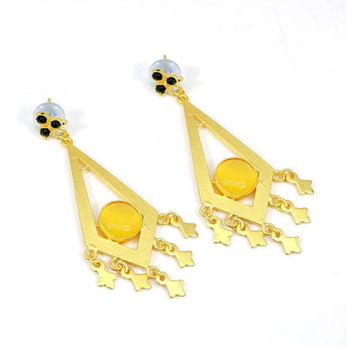 Top Selling Yellow Cat's Eye & Petrol Tourmaline Hydro Earring Traditional Classic Designer Earring Hoop Vermeil Earring Gift