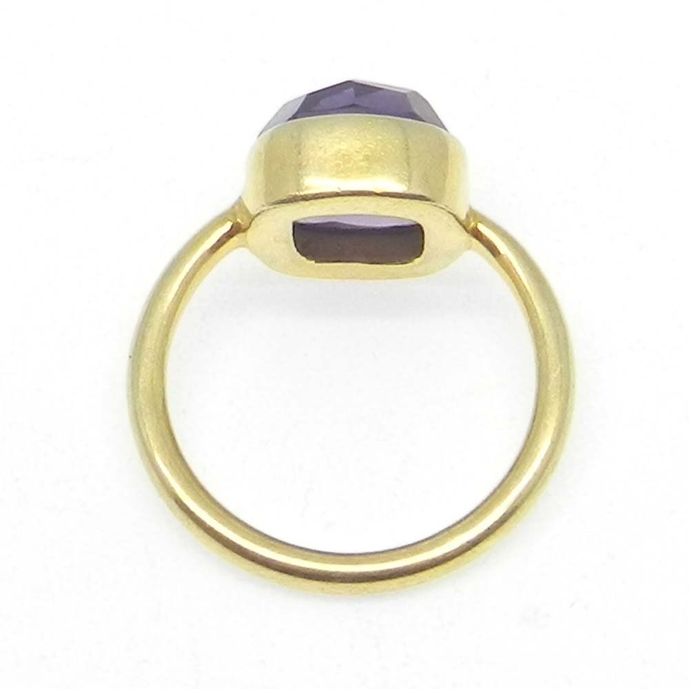 Trendy Collection Amethyst Hydro Gemstone Ring Solid 925 Sterling Silver Ring Gold Plated Handmade Bezel Setting Ring Tiny Statement Ring