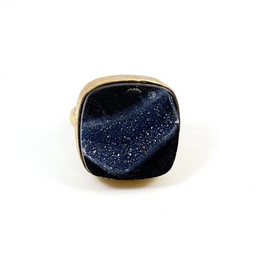 Trendy Collection Black Druzy Gemstone Ring Brass Vermeil Ring Handmade Bezel Rings Wedding Gift Jewelry Ring Gypsy  Gift Rings